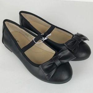 Girls Cacey Black Bow Detail Slip On Ballet Flats